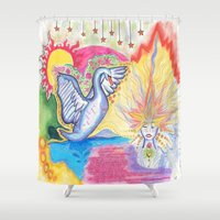 swan Shower Curtains featuring swan  by Spirit Candy