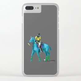 poloplayer turquoise grey Clear iPhone Case