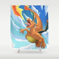 charizard Shower Curtains featuring Charizard by Pablo Rey