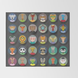 Set of animals faces circle icons set in Trendy Flat Style. zoo Throw Blanket