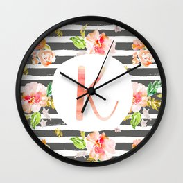 K botanical monogram. Letter initial with colorful flowers and gray stripes Wall Clock