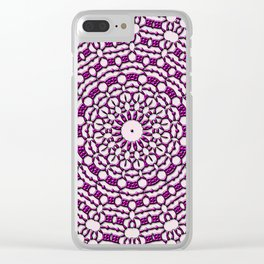 Purple Flower Mandala Clear iPhone Case