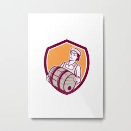 Female Bartender Carrying Keg Shield Retro Metal Print