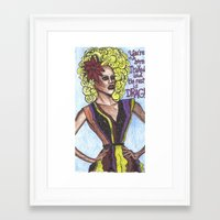 """rupaul Framed Art Prints featuring RuPaul; """"You're Born Naked, And The Rest Is Drag!"""" by DetRiotGirl"""