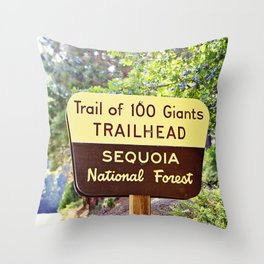 Trail of 100 Giants Vintage National Forest Sign Throw Pillow