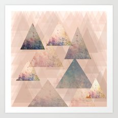 Pastel Abstract Textured Triangle Design Art Print