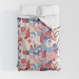 Man and girl surrealistic pattern Comforters