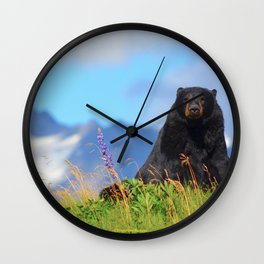 Alaskan Black Bear Wall Clock