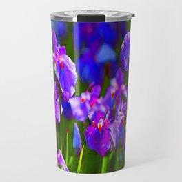 PURPLE IRIS GREEN GARDEN  FLOWERS FLORAL ART Travel Mug