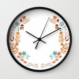 Flower crown illustration Wall Clock