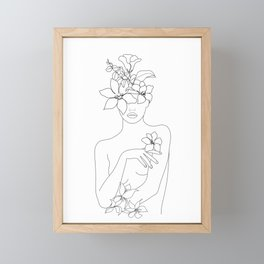 Minimal Line Art Woman with Flowers IV Framed Mini Art Print