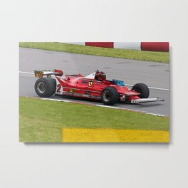 Sketch of F1 Champion Gilles Villeneuve - year 1980 car 312 T5 Metal Print