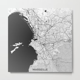 Marseille Map Gray Metal Print