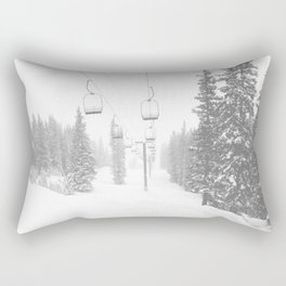 Empty Chairlift // Alone on the Mountain at Copper Whiteout Conditions Foggy Snowfall Rectangular Pillow