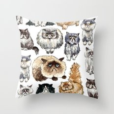 Disappointed cats Throw Pillow