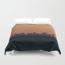 Boston skyline Silhouette at sunset from Gloucester Duvet Cover