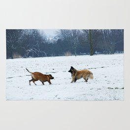Lets play - Dogs in the snow Rug