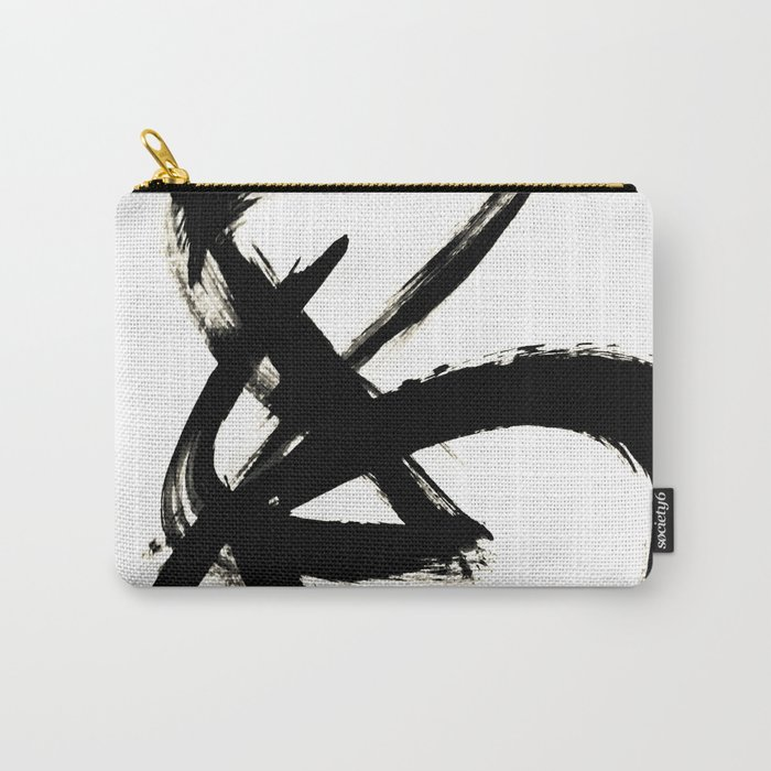 Brushstroke 3 - a simple black and white ink design Carry-All Pouch