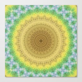 Tie Dye Sunflower Cloth Woven Sun Ray Pattern \\ Yellow Green Blue Purple Color Scheme Canvas Print