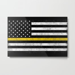 Thin Gold Line Flag Metal Print