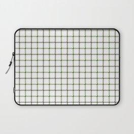 Fern Green & Sludge Grey Tattersall on White Background Laptop Sleeve
