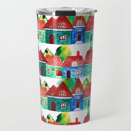 Watercolor houses Travel Mug