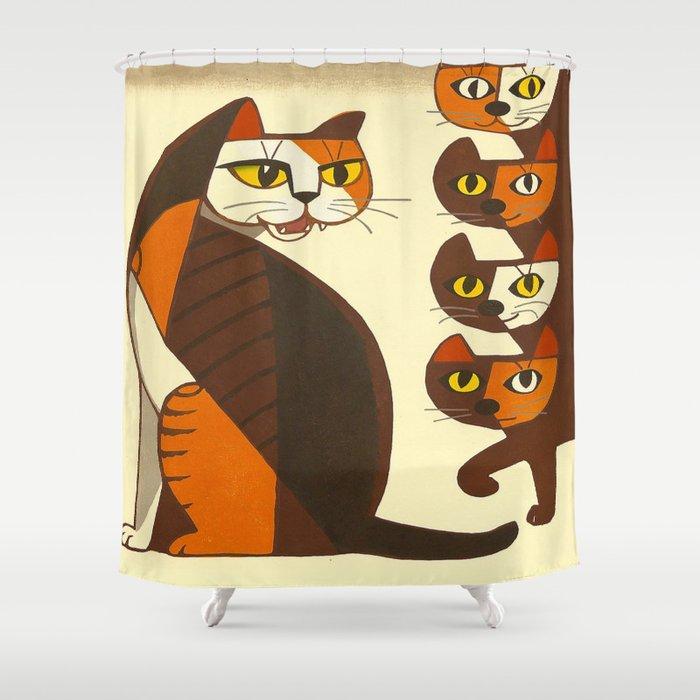 Inagaki Tomoo Vintage Japanese Woodblock print mid century Modern Cubism Art Cats Feline Shower Curtain
