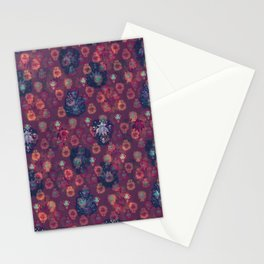 Lotus flower - orange and blue on mulberry woodblock print style pattern Stationery Cards