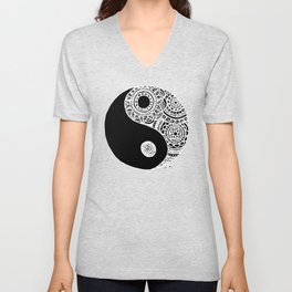 Black and White Lace Yin Yang Unisex V-Neck