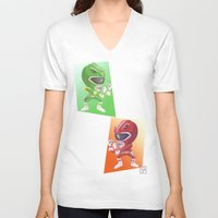 power rangers V-neck T-shirts featuring Mighty Fightin' Power Rangers by garciarts