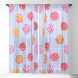 Smiling faces pattern no2 Sheer Curtain