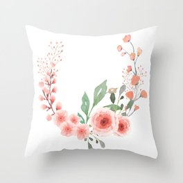 Leaves and Fresh Roses Open Wreath Throw Pillow