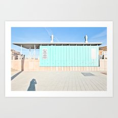 Blue House and the Photographer Art Print