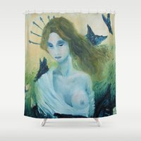 madonna Shower Curtains featuring Butterfly Madonna by AriesNamarie