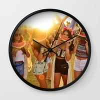coachella Wall Clocks featuring Coachella Festival by Cactus And Fog