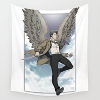 castiel Wall Tapestries featuring Castiel by DeanDraws