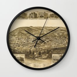 Aerial View of Harriman, Tennessee (1892) Wall Clock