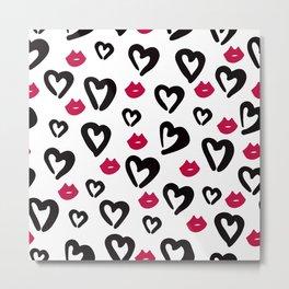 W&B Heart Pattern Metal Print