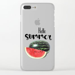Hello Summer // Green + Red Watermelon Clear iPhone Case