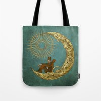 steampunk Tote Bags featuring Moon Travel by Eric Fan