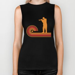 Retro Style Trumpet Player Silhouette Music T-Shirt Biker Tank