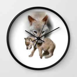 Wolf and Pup Wall Clock