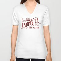 lannister V-neck T-shirts featuring House Lannister Typography by P3RF3KT