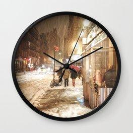 New York City - Snow at Night - Ludlow Street Wall Clock