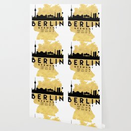 BERLIN GERMANY SILHOUETTE SKYLINE MAP ART Wallpaper