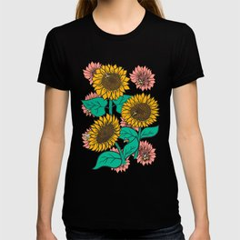 Cheery Sunflowers on Pink T-shirt
