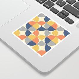 Mid Century Modern Geometric Pattern 445 Blue Yellow Orange Gray and Beige Sticker