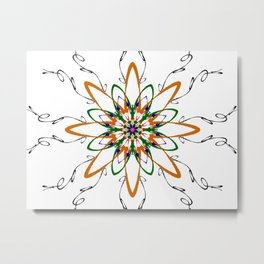 orange flare mandala Metal Print