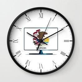 Illinois Flag TV Wall Clock