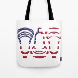 Lacrosse US Flag Head Trio Tote Bag
